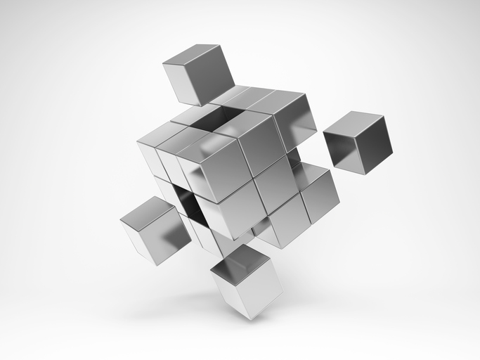 Metal cube with key elements. 3D illustration.