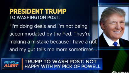 Trump: Not Happy With My Pick of Powell as Fed Chair