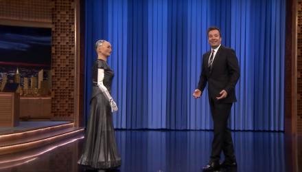 Sophia the Robot and Jimmy Sing a Duet Of 'Say Something'