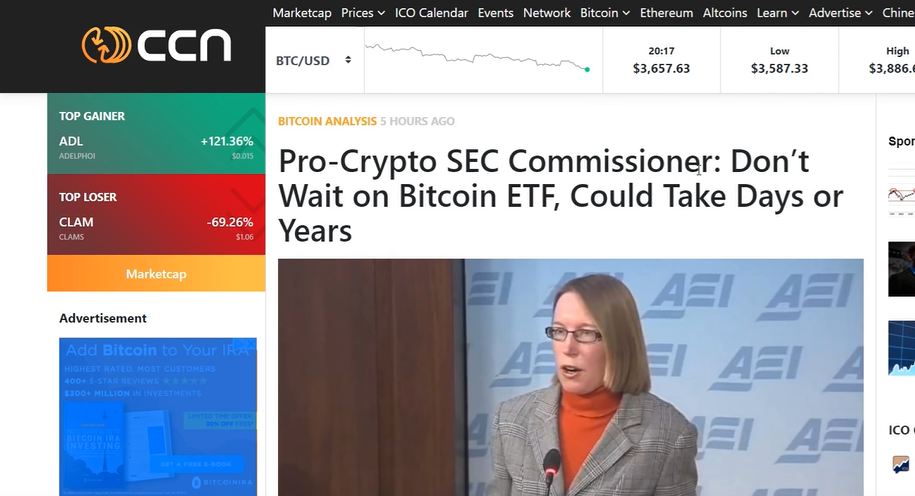 Bitcoin ETF? Don't Hold Your Breath Says SEC Commissioner