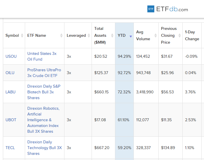 5 Best-Performing Leveraged ETFs Year-to-Date