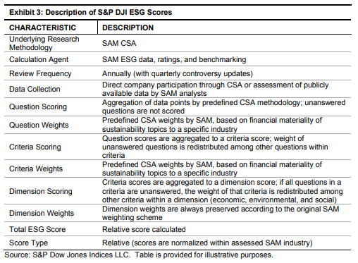 Description of S&P 500 DJI ESG Scores