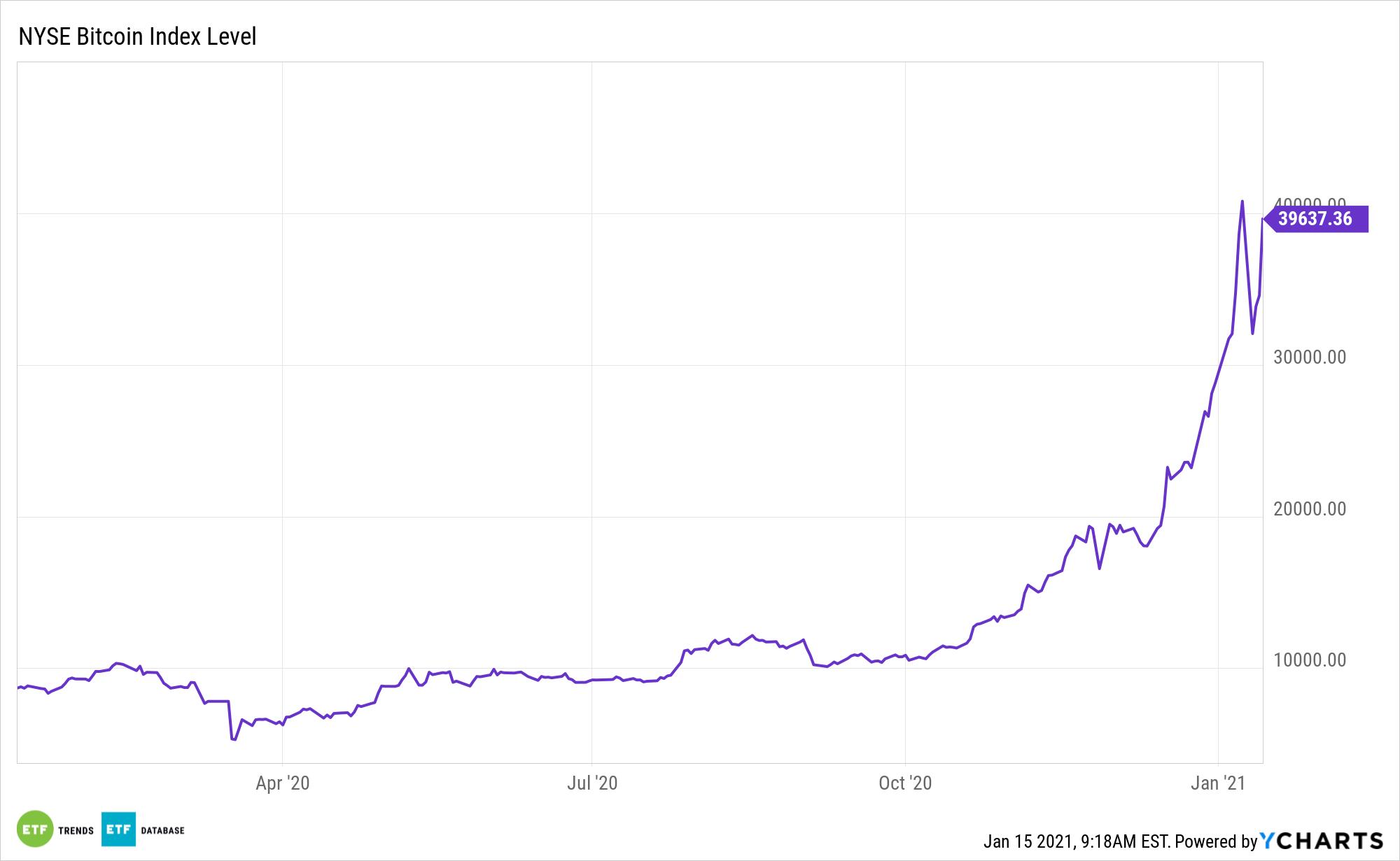 Chỉ số Bitcoin NYSE 1 năm