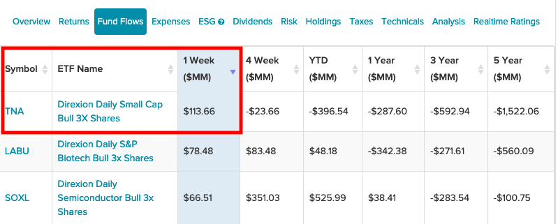 This Direxion Small Cap Leveraged ETF Dominated One-Week Inflows 1
