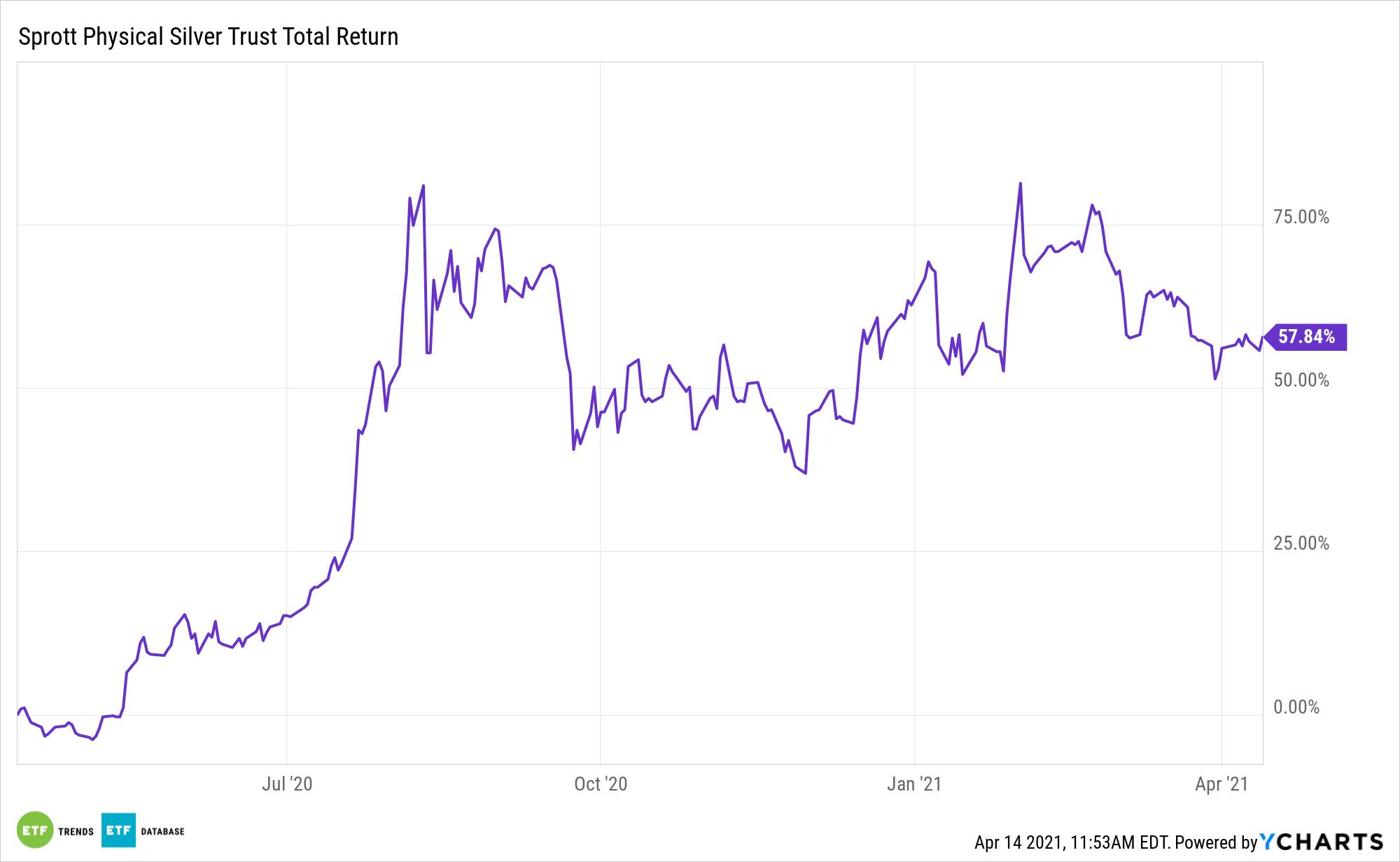 PSLV 1 Year Total Return