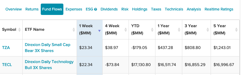 A Pair of Leveraged Direxion ETFs With Highest 1-Week Fund Flows 1